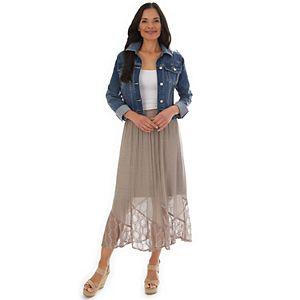 Petite Apt. 9® Lace-Trim Gauze Midi Skirt