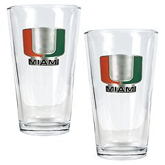 University of Miami Hurricanes 2-pc. Pint Ale Glass Set