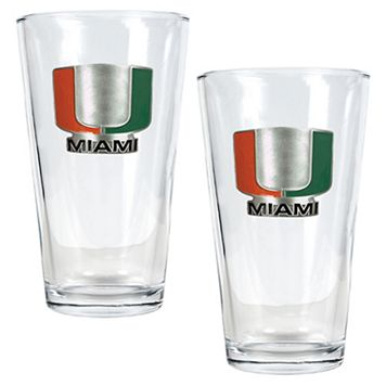 University of Miami Hurricanes 2-pc. Pint Ale Glass Set