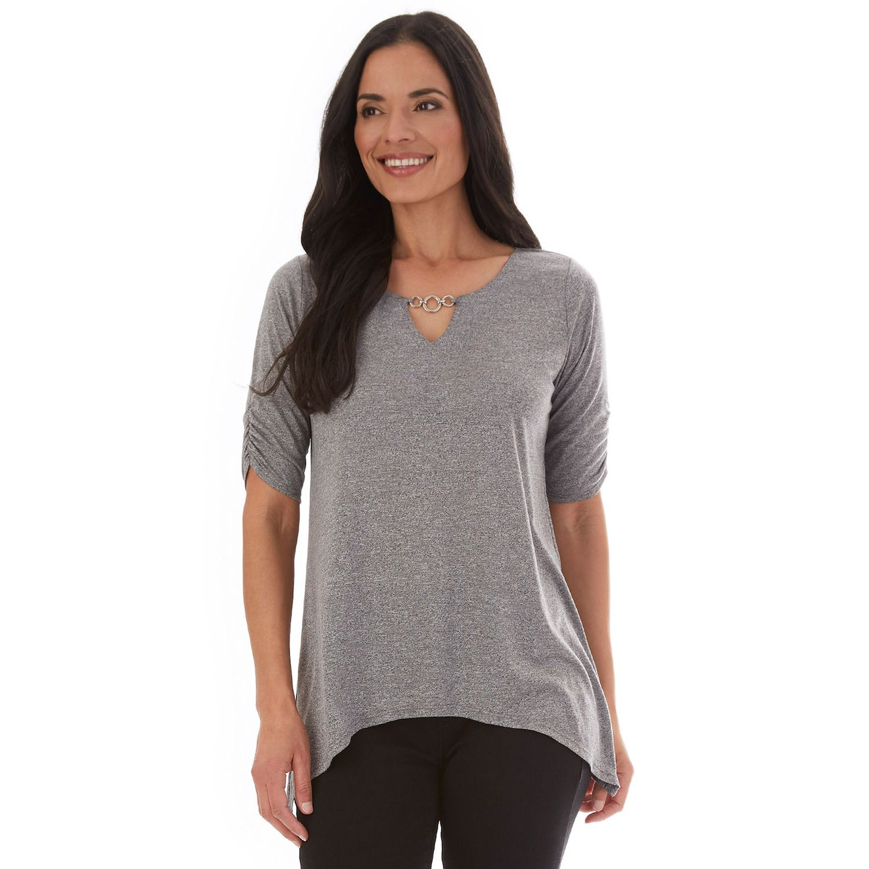 Women's Apt. 9® Sharkbite-Hem Elbow-Sleeve Top