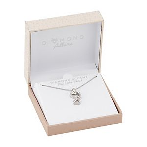 Diamond Allure Diamond Accent Double Heart & Paw Pendant Necklace