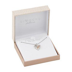 """Diamond Allure Two-Tone Diamond Accent """"Mom"""" Heart Pendant Necklace"""