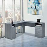 Techni Mobili Functional L-Shape Desk with Storage