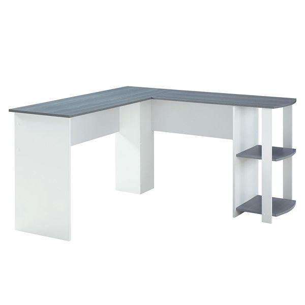 Techni Mobili Modern L Shaped Desk With Side Shelves