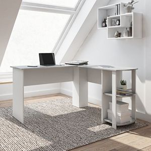 Techni Mobili Modern L-Shaped Desk with Side Shelves