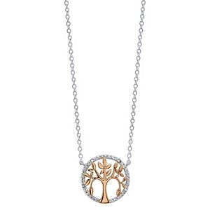Diamond Allure Two-Tone Diamond Accent Tree Pendant Necklace