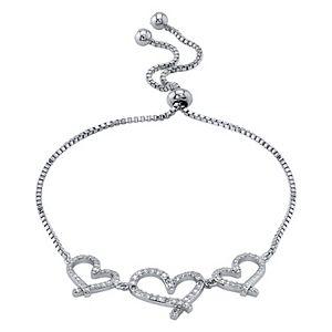 Diamond Allure Diamond Accent Triple Heart Bolo Bracelet