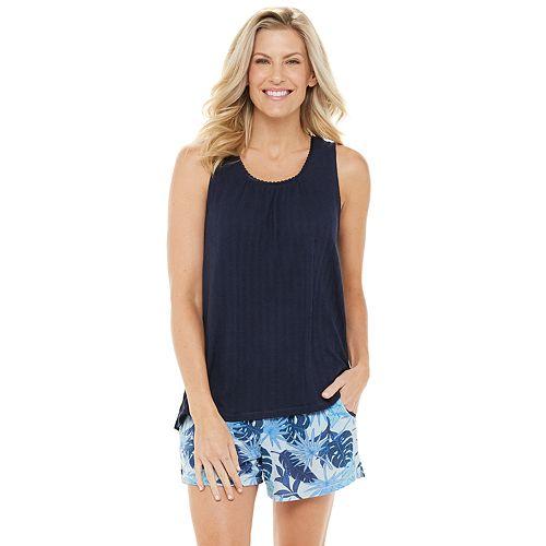 Women's Croft & Barrow® Knit Gauze Pajama Tank & Pajama Shorts Set