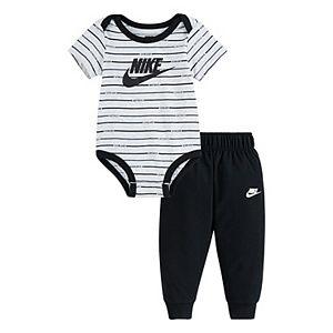 Baby Boy Nike 2 Piece Striped Logo Bodysuit & Pants Set