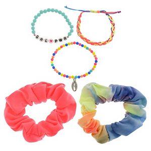Girls 6-12 Elli by Capelli Tye Dye Scrunchie & Friendship Bracelet Set