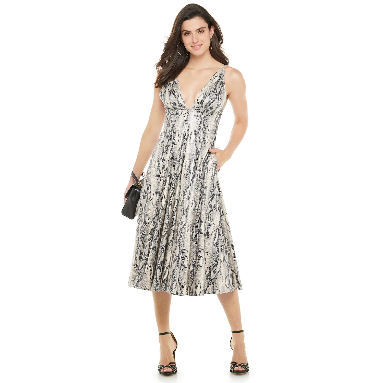 Women's Jennifer Lopez Snakeskin-Print Midi Dress