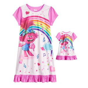 Dreamworks Trolls Poppy Girls 4-8 Nightgown & Doll Gown Set