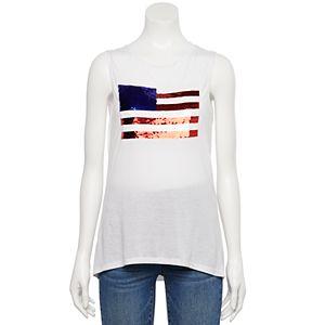 Juniors' Flip Sequin U.S. Flag Tank Top