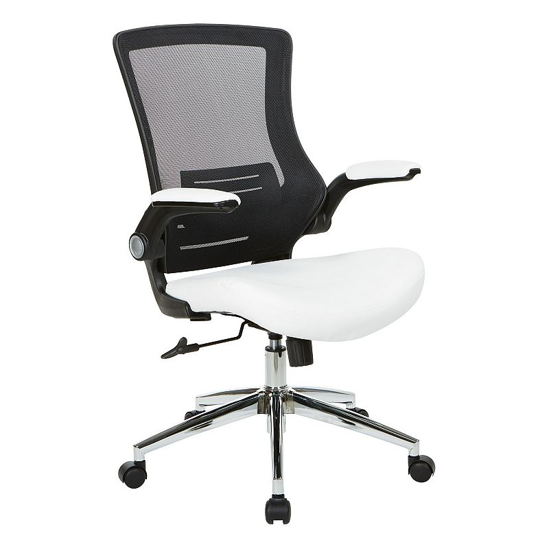 Office Star Products Black Screen Back Manager's Chair, White