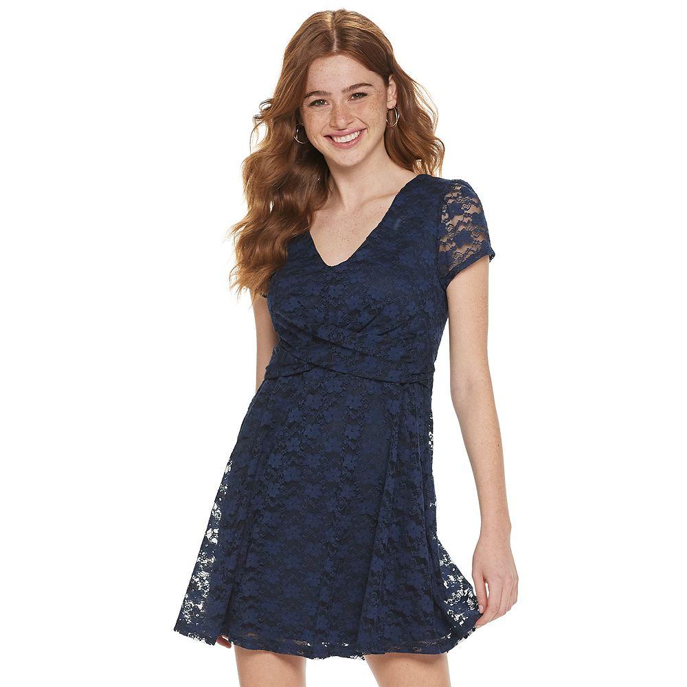Juniors' Lily Rose Short Sleeve Twist Front Skater Dress