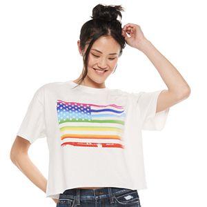 Juniors' Rainbow Flag Graphic Tee