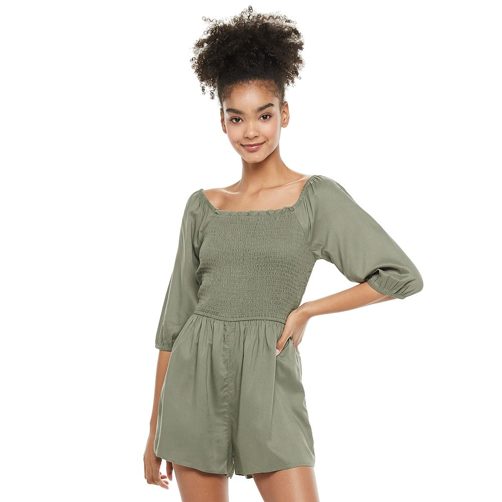 Juniors' SO® Elbow Sleeve Smocked Bodice Romper