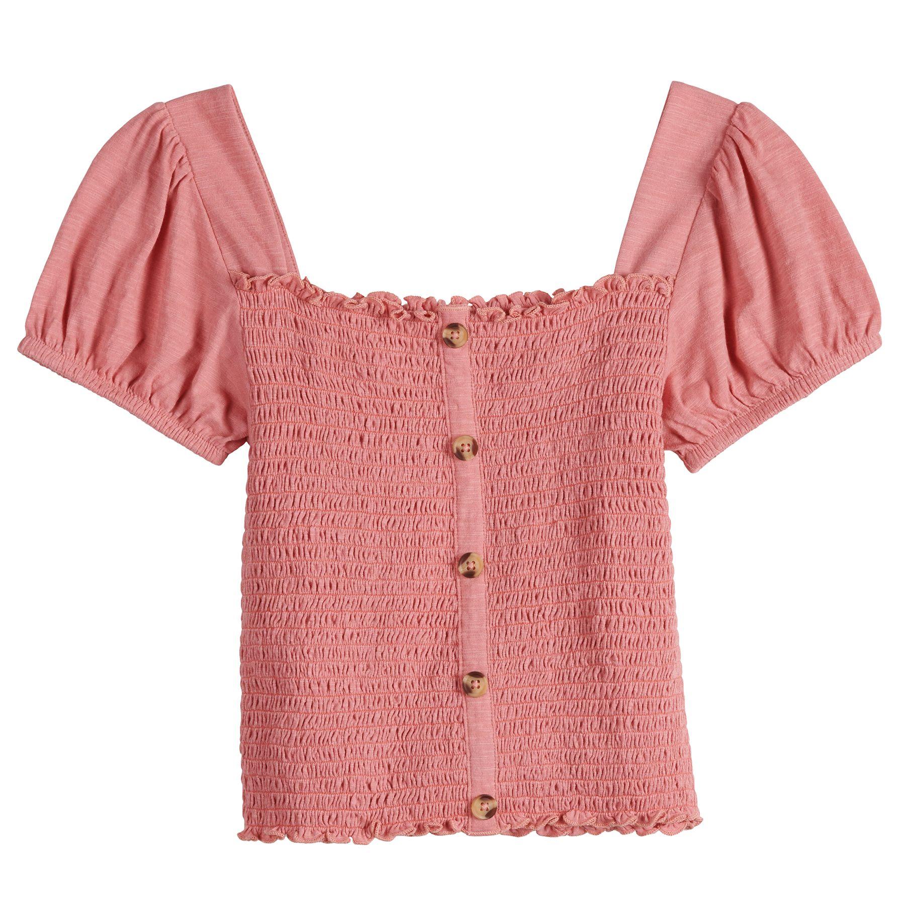 Juniors' Mudd® Smocked Puff Sleeve Top