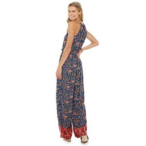 Juniors' SO® High Neck Insert Trim Jumpsuit