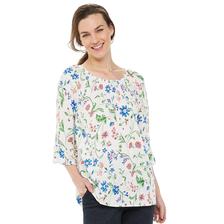 Women's Croft & Barrow® Print Smocked Peasant Top