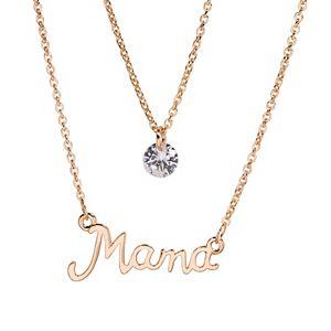 "LC Lauren Conrad ""Mama"" & Cubic Zirconia Pendant Necklace Set"