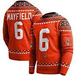 Men's Baker Mayfield Orange Cleveland Browns Player Name & Number Pullover Sweater