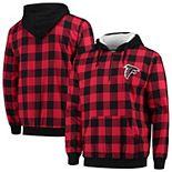Men's Red/Black Atlanta Falcons Large Check Sherpa Flannel Quarter-Zip Hoodie Jacket
