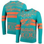 Men's Aqua/Orange Miami Dolphins Light Up Ugly Sweater