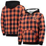 Men's Orange/Navy Chicago Bears Large Check Sherpa Flannel Quarter-Zip Hoodie Jacket