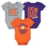 Newborn & Infant Orange/Purple/Heathered Gray Clemson Tigers Eat, Sleep & Drool Football 3-Piece Bodysuit Set