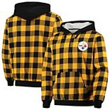 Men's Gold/Black Pittsburgh Steelers Large Check Sherpa Flannel Quarter-Zip Hoodie Jacket