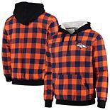 Men's Orange/Navy Denver Broncos Large Check Sherpa Flannel Quarter-Zip Hoodie Jacket