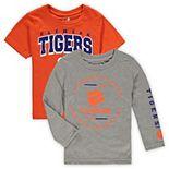 Toddler Orange/Heathered Gray Clemson Tigers Club Short Sleeve and Long Sleeve T-Shirt Combo Set