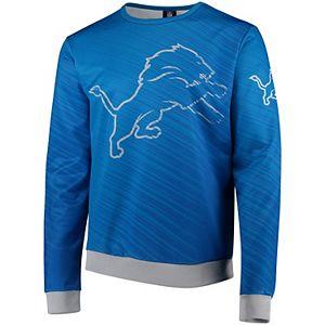 Men's Blue Detroit Lions Static Rain Pullover Sweatshirt