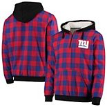 Men's Red/Royal New York Giants Large Check Sherpa Flannel Quarter-Zip Hoodie Jacket