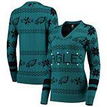Women's Midnight Green Philadelphia Eagles Light-Up V-Neck Ugly Sweater