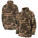 Women's Camo Wisconsin Badgers OHT Military Appreciation Sherpa Quarter-Zip Pullover Jacket