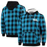 Men's Blue/Black Carolina Panthers Large Check Sherpa Flannel Quarter-Zip Hoodie Jacket