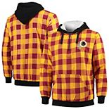 Men's Gold/Burgundy Washington Redskins Large Check Sherpa Flannel Quarter-Zip Hoodie Jacket