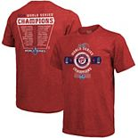 Men's Majestic Threads Red Washington Nationals 2019 World Series Champions Roster T-Shirt