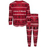 Toddler Red/Black Atlanta Falcons Wordmark Long Sleeve T-Shirt & Pants Pajama Set