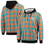 Men's Aqua/Orange Miami Dolphins Large Check Sherpa Flannel Quarter-Zip Hoodie Jacket