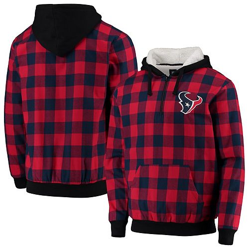 Men's Navy/Red Houston Texans Large Check Sherpa Flannel Quarter-Zip Hoodie Jacket