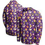 Men's Purple Minnesota Vikings Winter Explosion Long Sleeve Woven Button-Up Shirt