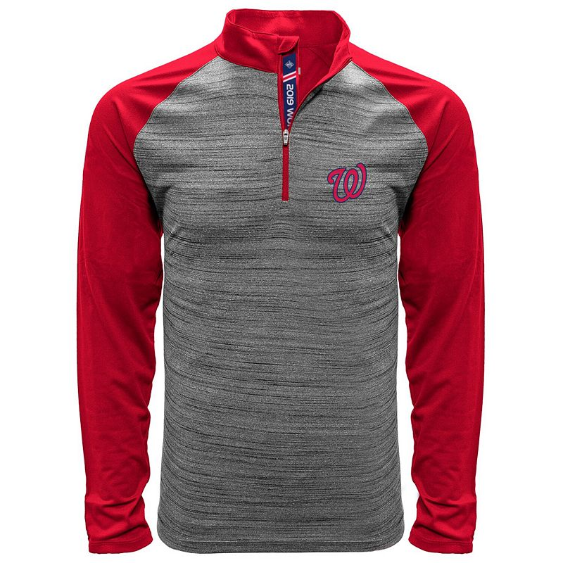 Men's Levelwear Gray/Red Washington Nationals 2019 World Series Champions Vandal Quarter-Zip Pullover Jacket, Size: 2XL, Grey