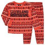 Toddler Orange/Brown Cleveland Browns Wordmark Long Sleeve T-Shirt & Pants Pajama Set