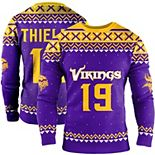Men's Adam Thielen Purple Minnesota Vikings Name & Number Crewneck Sweater