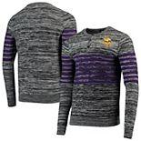 Men's Gray Minnesota Vikings Marled Knit Henley Long Sleeve T-Shirt
