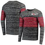 Men's Gray Kansas City Chiefs Marled Knit Henley Long Sleeve T-Shirt