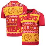 Men's Red/Yellow Kansas City Chiefs Ugly Sweater Knit Polo